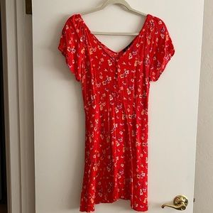 Lulus red floral print dress